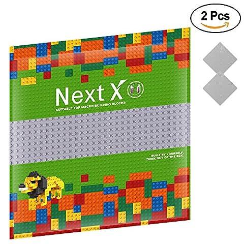 NextX 2 Stück Grundplatte für Classic Bausteine Plastik Bauplatte 25 x 25 cm - Grau (Ghostbusters Kostüm Diy)