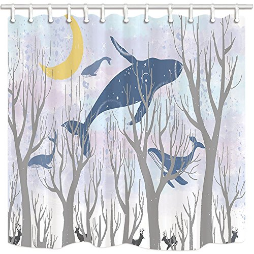 Rrfwq Dream Vorhang für die Dusche Fancy Welt Wal Fly Woods Deer Moon Star Kind Interesse Badezimmer Polyester-Schimmelresistent-Wasserdicht Duschvorhang Set mit Haken 180x 180cm (Duschvorhang Wars Stars)