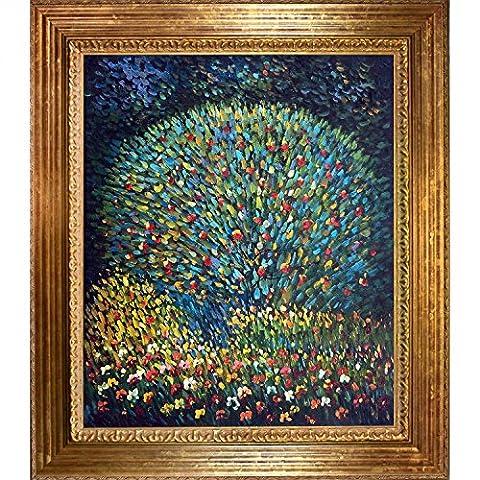 OverstockArt Apple Tree I with Vienna Gold Leaf Frame by Gustav Klimt Framed Hand Painted Oil on Canvas, Wood,