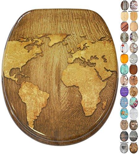 WC Sitz mit Absenkautomatik, viele schöne Holz WC Sitze zur Auswahl, hochwertige und stabile Qualität (World Map)