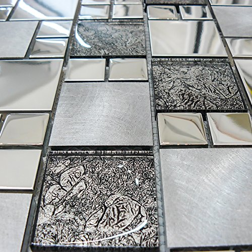 Stainless Steel & Brushed Metal With Black Glass Decorative Mosaic Tiles Sheet For Walls Floors Bathroom Kitchen (1 Sheet 30cmX30cm)