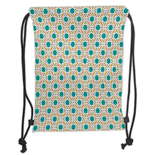 Trsdshorts Drawstring Backpacks Bags,Teal,Geometric Pattern Eastern Religions Inspired Oriental Symmetric Design Print Decorative,Teal Grey Mustard Soft Satin,5 Liter Capacity,Adjustable STRI