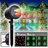 COOWOO Weihnachtsbeleuchtung Led Weihnachts Projektor Beleuchtung für Innen und Außen rot grün Sterne mit 6 Mustern und Timerfunktion