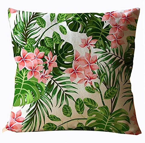 Bag shrots Hand-Painted Tropical Flowers and Birds Foliage Plant Christmas Gift Cotton Linen Decorative Throw Pillow Case Cushion Cover Square 18