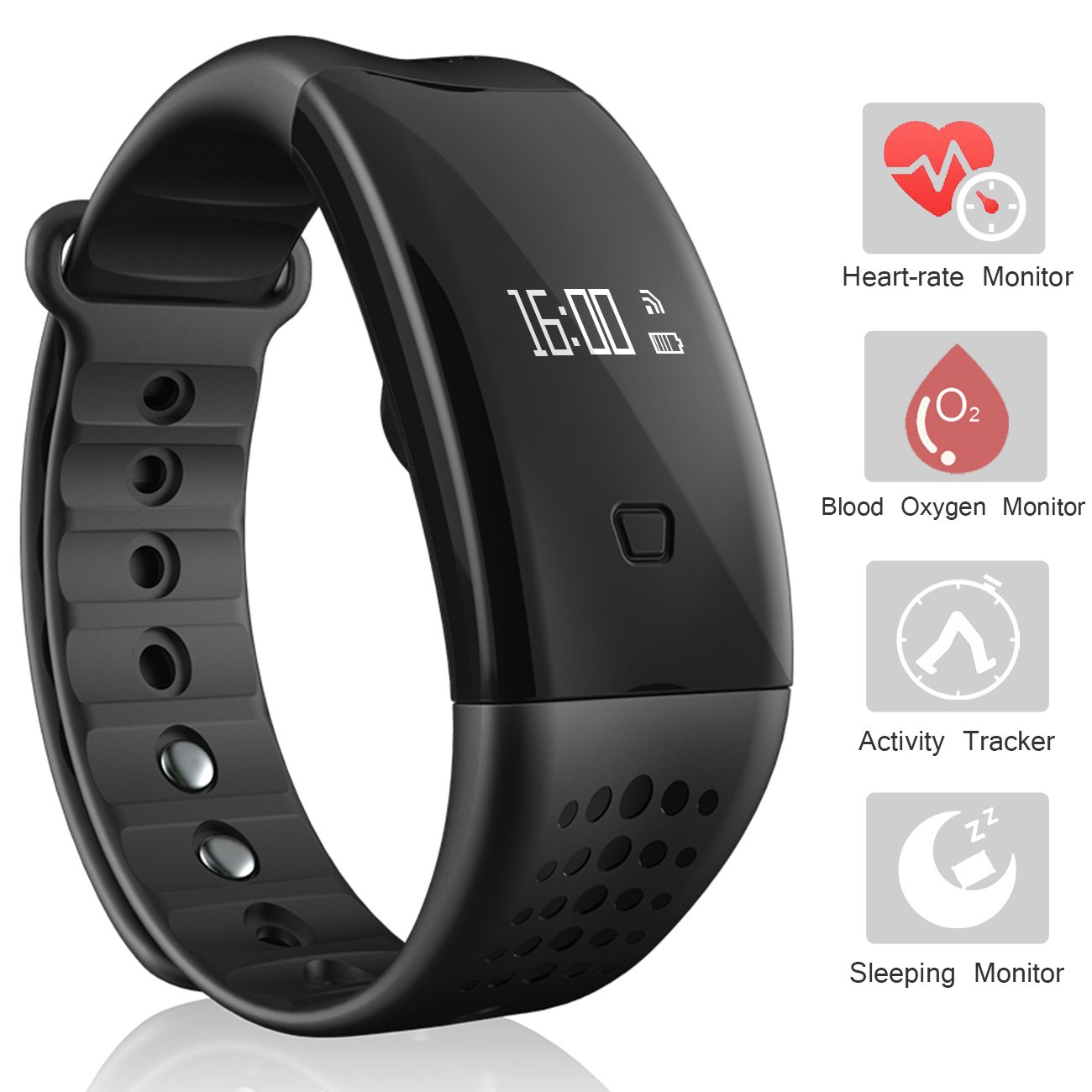 Fitness Tracker Heart Rate Watch – Pedometer Sports Bracelet Smart Watch Bluetooth Health Activity Tracker Wristband with Sleep monitor/Step Tracker/Calorie Counter for Android & iOS Smartphone