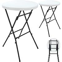 Deuba Lot de 2 Tables Hautes Pliable Plateau en Plastique Blanc Ø 72 cm Table Haute Table de Bar Mange-Debout