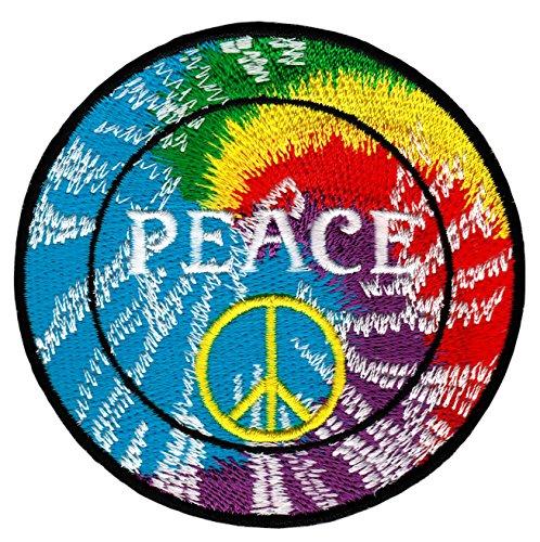 Peace Zeichen Regenbogen Aufnäher Bügelbild Applikation 7,8 x 7,8 cm - Jeans Peace-zeichen