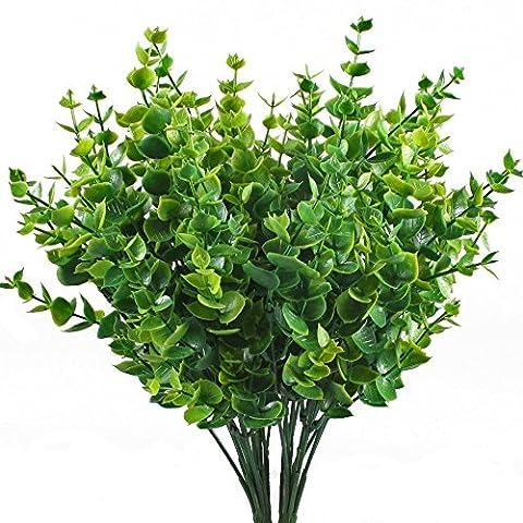 Haus Deko 6 Bündel Grün Künstliche Pflanzen Kunststoff Stäucher kunststoff Pflanzen Eukalyptus für küche Garten Badezimmer und Fensterbank
