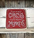 Monsety Lustige Geschenk Schild mit Zitat 'Meine Zirkus und die drei Affen mit Holz-Element Design, zum Aufhängen, aus Holz, 25x 25cm Plaque