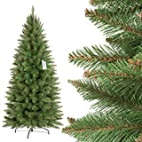 FairyTrees Weihnachtsbaum künstlich Slim, Fichte Natur, grüner Stamm, Material PVC, inkl. Metallständer, 150cm