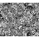 Autostyle EU407904Stickerbomb-Folie, Design 1, 60x 200cm, schwarz/weiß