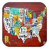 Wanduhr Urlaub Reisebüro Deko USA Nummernschilder Acryl Uhr Retro