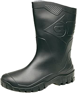 Dunlop Womens Short Half Length Ankle Wellington Wellies Boots Wide FIT Calf UK 4-9 Black