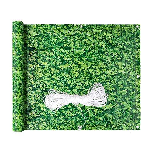 HENGDA Balkon Sichtschutz Windschutz Sichtblende Balkonverkleidung | mit Ösen und Kordel | 90x600cm grünes Laub | für den Gartenzaun oder Balkon | Blickdicht auswählbar Multifunktionen