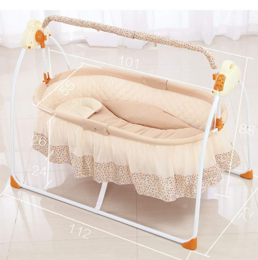 Baby Electric Cradle Bed - Rocking Chair Sleeping Basket Baby cot Smart Baby Artifact Sleepy Comfort Chair,3-Speed Electric Swing, Easy to Sleep,B AYUANCHUN From soothing swings, music and sounds to calming vibrations, light projections, and more, everything has everything to help your baby leave the dream comfortably. Sensory: A variety of soft textures, calm vibrations and swaying movements stimulate the baby's senses. Safety and well-being: Soft cushions, calm vibrations and gentle shaking help to soothe your baby, become a part of the nap and routine before going to bed, giving your baby a sense of security. 5