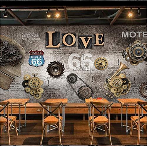 Mmneb Retro Industrial Style Gear Liebe Hintergrund Tapete Dekorative Tapete Für Restaurant Kunstwand-450X300Cm