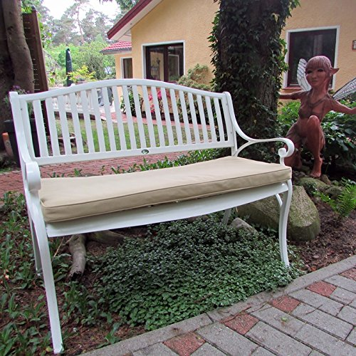 Lazy Susan – GRACE Gartenbank aus Aluminium, Weiß (Beiges Kissen) - 2