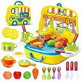 Mini Cucina Giocattolo Set cuoco in Valigetta con Accessori Giochi per bambini (Giallo)