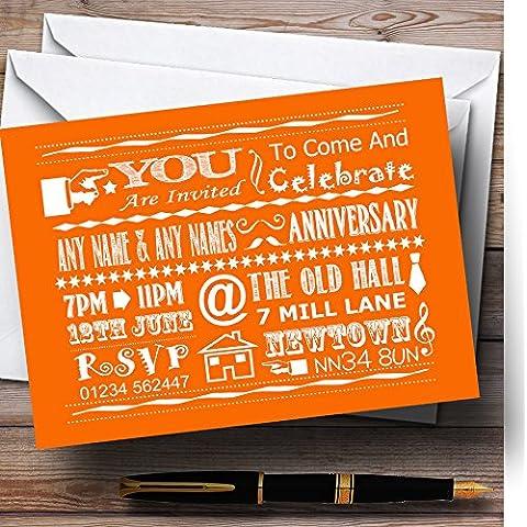 Cool Vintage Fun tiza de la tipografía naranja personalizable aniversario fiesta Invit..., 40 Invites & Envelopes