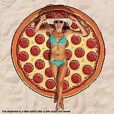 Baffect® Gasa y Poliéster 150 * 150cm toalla de playa redonda Manta de algodón circular toalla de playa Toalla de playa de picnic (Pizza)