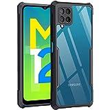 TheGiftKart Back Cover Case for Samsung Galaxy M12 / F12 / A12 (Shockproof | Hybrid TPU & PC | Transparent | Black Bumper)
