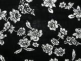 Floral Print Viskose Kleid Stoff, Meterware, Schwarz