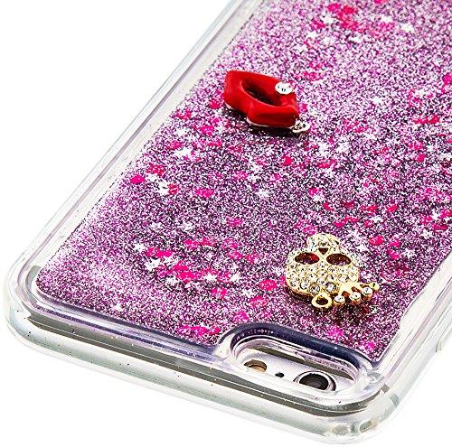 Nnopbeclik Silikon Hülle Transparent Für Apple Iphone 6 Plus / 6S Plus, Durchsichtig Ultra Slim TPU 3D Fließende Flüssigkeit Shiny Weich Schutzhülle Tasche Bunt Muster mit Diamant Applikationen [DIY M #3