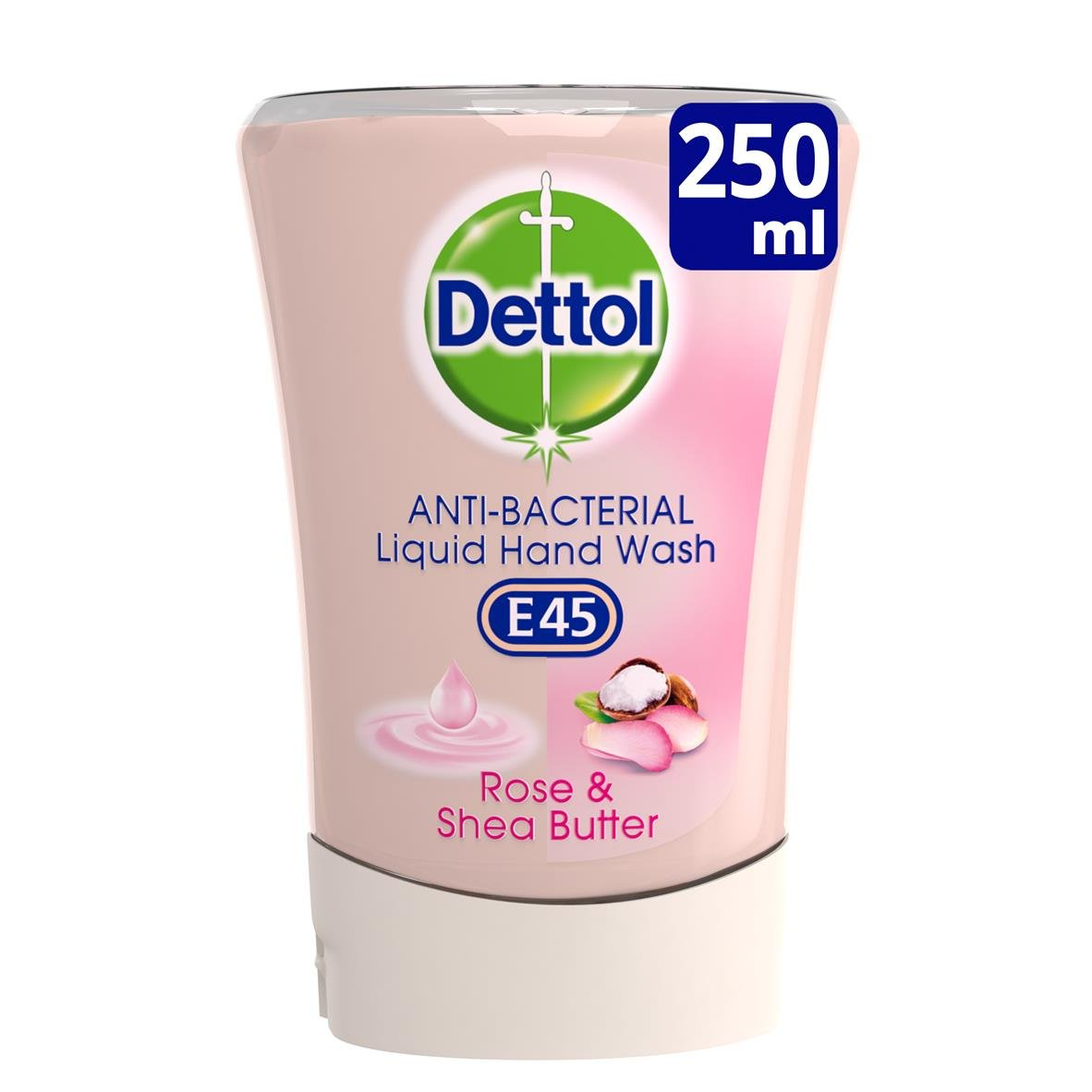 Dettol No-Touch E45 Refill Hand Wash, Rose and Shea Butter, 250 ml, Pack of 5