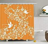 JIEKEIO Japanese Shower Curtain, Oriental Floral Japanese Style Flying Birds Asia Pastel Colored Spring Pattern, Fabric Bathroom Decor Set with Hooks, 60 * 72inch Extra Long, Marigold White