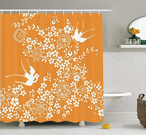 JIEKEIO Japanese Shower Curtain, Oriental Floral Japanese Style Flying Birds Asia Pastel Colored Spring Pattern, Fabric Bathroom Decor Set with Hooks, 60 * 72inch Extra Long, Marigold White -