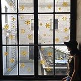 Wandbild ZOZOSO Siebdruck, Goldpulver, Silberpulver, Schneeflocke, Weihnachtsfenster, Glaswandaufkleber, Hintergrunddekoration, Tapete.