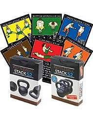 Stack52 Cartes d'exercice d'entraînement avec un poids kettlebell Instructions vidéo incluses (français non garanti) Apprenez des mouvements et des exercices de conditionnement physique avec un kettlebell. Programme d'entraînement de fitness à domicile.