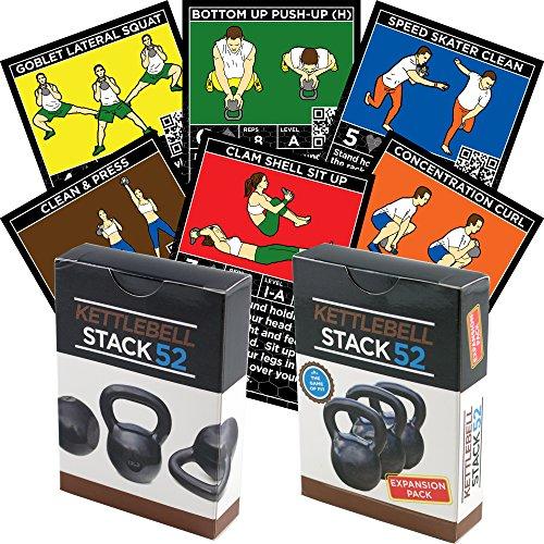 Kettlebell-Übungskarten-Duo-Pack von Stack 52. Kettlebell Workout Spielkartenspiel Videoanweisungen enthalten. Lernen Sie Wasserkocher Bell bewegt Konditionierbohrer. Fitness-Trainingsprogramm.