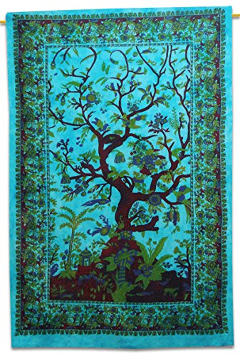 "Handicrunch Cotton Tree Of Life Tapestry Hanging Décor Bohemian Full Tapestries 92"" X 82"""