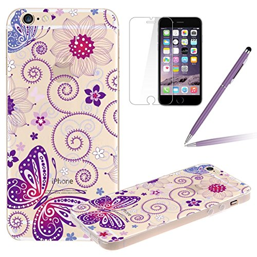 Clair Housse pour iPhone 6, Felfy Apple iPhone 6/6S 4.7 pouce Ultra mince Slim Beau Elf fée des fleurs motif Style Gel Cristal Souple Soft Flexible TPU Silicone Transparent Coque Etui Protective Case  purple Butterfly