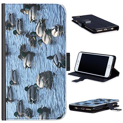 Hairyworm - BG0179 Mallard Enten auf dem Wasser LG G3 Leder Klapphülle Etui Handy Tasche, Deckel mit Kartenfächern, Geldscheinfach und Magnetverschluss. LG3 Fall (Fall Lg G3 Wasser)