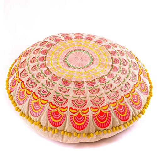Mandala Life ART Luxus Bohemian Bodenkissen- Pouf Puff Ottoman - Sitzsack - 60cm Runde Meditationskissen - Boho Chic Zimmer Dekor - Boden Sitzmöbel (Runde Regenbogen-akzenten)