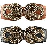 VOCHIC 2pcs Vintage Basic Stretchy Elastic Wide Waist Belt for Womens Dress Metal Interlock Buckle
