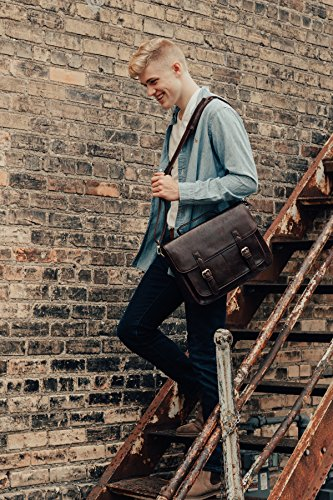 ECOSUSI Vintage Borsa a Tracolla Cartella Uomo Vintage in Ecopelle Borsa Messenger Valigetta Borsa per Portatile 14