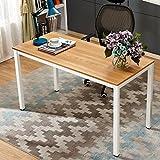 Need Schreibtisch 140x60cm Computertisch PC-Tisch Bürotisch Arbeitstisch Konferenztisch Esstisch Holz große Größe, Teak Oak & Weiß
