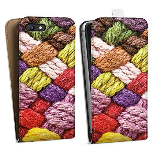 Apple iPhone X Silikon Hülle Case Schutzhülle Wolle Look Stricken Bunt Downflip Tasche weiß