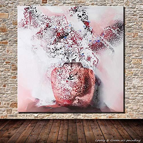 LSHUAJIANG Handgemaltes Ölgemälde Auf Leinwand,Rosa Abstrakt Vase, Vintage Abstrakte Große...