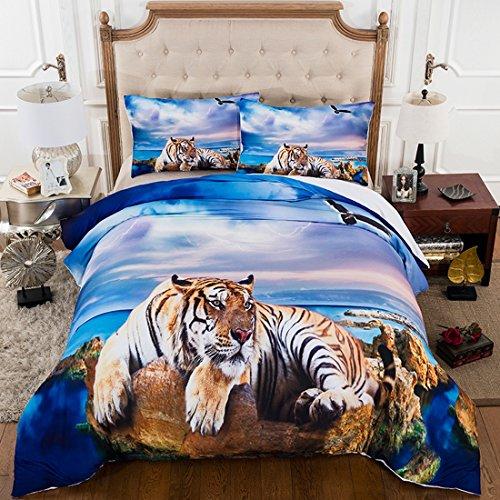 FGDJTYYJ 3D Strand Tiger Bettwäsche-Set Schlafzimmer Königin Größe 100% Mikrofaser Geschenk,3 teilige Bettdecke mit 2 Kissenbezügen, 220x240cm (Schlafzimmer-sets Königin)
