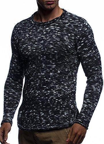 LEIF NELSON Herren Pullover Strickpullover Sweater Hoodie Longsleeve Basic Rundhals Crew Neck Sweatshirt langarm Strick LN20723; Grš§e M, Schwarz