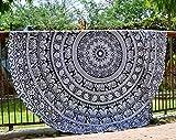 Rotonda telo mare nero bianco arazzo mandala hippie boho Boemia cotone indiano gypsy tovaglia meditazione yoga stuoia coperta tappeti da Raajsee tondo (182,9cm), Cotone, Black, 72 inch round
