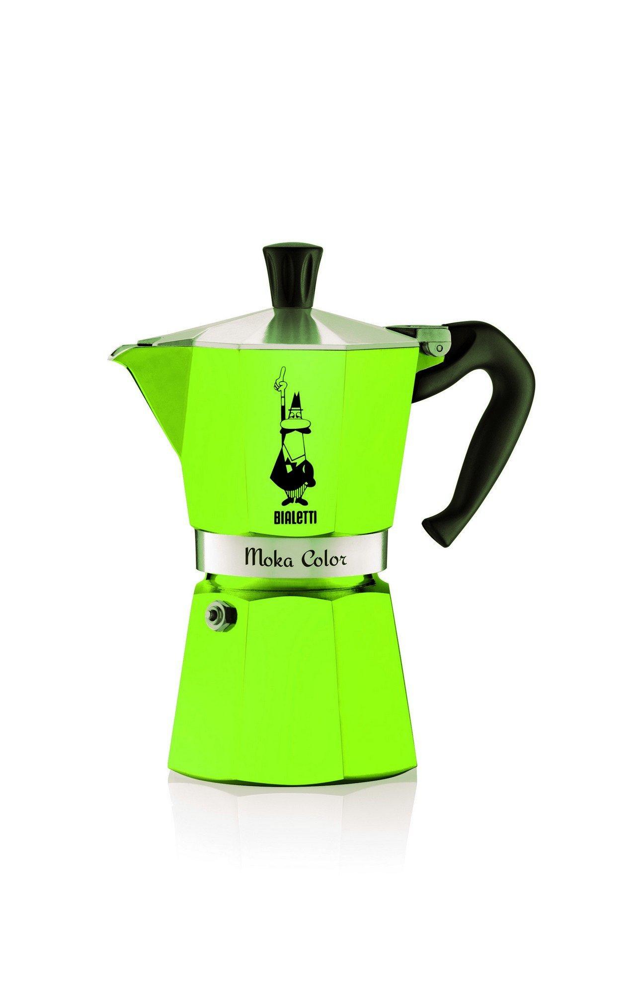 Bialetti 9123 Moka Express Color Espressokocher, Aluminium, Grün