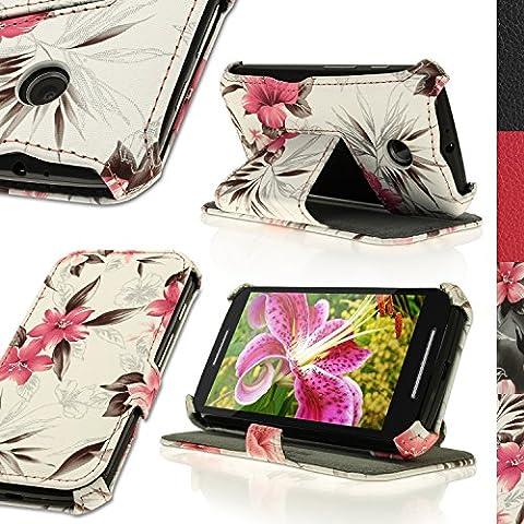 igadgitz 'Vintage Collezione' Folio Rosa su Crema Floreale Eco Pelle Custodia Case Cover per Motorola Moto E XT1021 con Supporto Multi-Angle + Pellicola