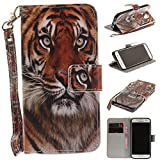 Samsung Galaxy S7 Case Leather [Cash and 3 Card Slots], Cozy Hut Premium Retro Cute Cat Tiger Lion Monkey Owl Wolf Dog Embossed Patterned PU Leather Stand Function Protective Cases Covers with Card Slot Holder Wallet Book Design Magnetic Closure Secure Lock Case for Samsung Galaxy S7 - monkey