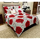 Home Candy 144 TC Red Roses Cotton Double Bed Sheet With 2 Pillow Covers