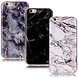 CLM-Tech 3in1 Accessoires Set: 3 x TPU Housse Silicone Gel pour iPhone 6 6S Coque de Protection Cover Marbre Motif Noir Blanc coloré Case